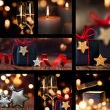 Colagem de decorações da tabela do Natal Fotos de Stock