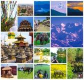Colagem de destinos nepaleses populares do curso - montanhas de Kathmandu Valley e de Himalaya fotos de stock