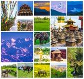 Colagem de destinos nepaleses populares do curso - montanhas de Kathmandu Valley e de Himalaya imagens de stock royalty free