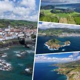 Colagem de destinos populares do turista em ilhas de Açores portugal Fundo do curso Silhueta do homem de neg?cio Cowering imagem de stock royalty free