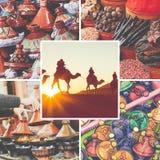 Colagem de destinos populares do turista em Marrocos Fundo do curso fotografia de stock royalty free