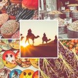 Colagem de destinos populares do turista em Marrocos Fundo do curso foto de stock royalty free