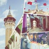 Colagem de destinos populares do turista em Tunísia Fundo do curso fotos de stock royalty free