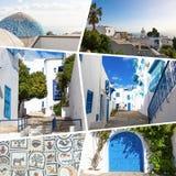 Colagem de destinos populares do turista em Tunísia Fundo do curso foto de stock royalty free