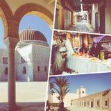 Colagem de destinos populares do turista em Tunísia Fundo do curso imagem de stock royalty free