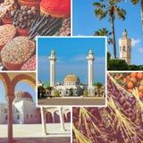 Colagem de destinos populares do turista em Tunísia Fundo do curso fotografia de stock