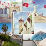 Colagem de destinos populares do turista em Tunísia Fundo do curso imagem de stock