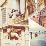 Colagem de destinos populares do turista em Zadar Cro?cia Fundo do curso imagens de stock