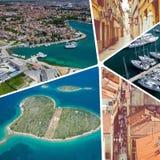 Colagem de destinos populares do turista em Zadar Cro?cia Fundo do curso fotos de stock