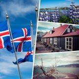 Colagem de destinos populares do turista de Reykjavik isl?ndia Fundo do curso Silhueta do homem de neg?cio Cowering imagem de stock