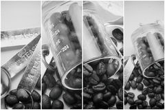 Colagem de detalhes do café, tom do vintage dos feijões de café, fundo do trabalho de arte Fotos de Stock Royalty Free