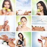 Colagem de dieta bonita com mulheres novas imagem de stock royalty free