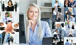 Colagem de executivos novos fotografia de stock royalty free