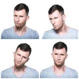 Colagem de expressões duvidosas, querstionable, incrédulos da cara foto de stock