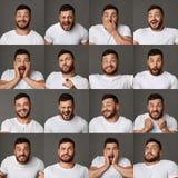Colagem de expressões e de emoções do homem novo fotografia de stock royalty free