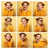 Colagem de expressões faciais diferentes da jovem mulher fotografia de stock royalty free