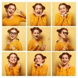 Colagem de expressões faciais diferentes da jovem mulher imagem de stock