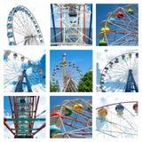 A colagem de ferris diferentes bonitos roda dentro o movimento em parques de diversões Imagem de Stock