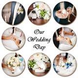 Colagem de fotos do casamento Imagens de Stock