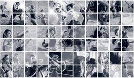 Colagem de fotos do esporte com povos fotografia de stock