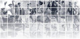 Colagem de fotos do esporte com povos imagem de stock royalty free