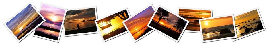 Colagem de fotos do por do sol imagens de stock royalty free