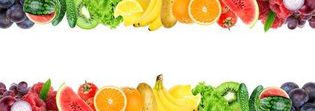Colagem de frutas e legumes misturadas Frutas e legumes frescas da cor ilustração royalty free