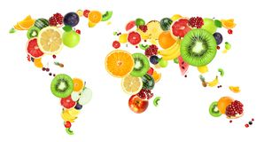 Colagem de frutos frescos ilustração stock