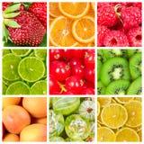 Colagem de frutos frescos fotografia de stock royalty free