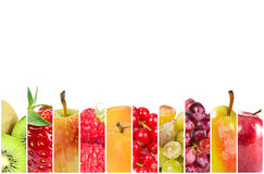 Colagem de frutos frescos e de bagas fotografia de stock royalty free