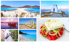 Colagem de Grécia - ilha de Elafonisos, Sifnos, barco do por do sol, cabo Sounion, Ithaca, salada grega fotografia de stock royalty free