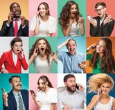 A colagem de homens novos e de mulheres com telefones celulares Imagem de Stock Royalty Free