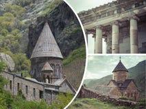 Colagem de imagens dos monastérios (Armênia) - fundo do curso (m foto de stock royalty free