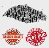 Colagem de Isla La Tortuga Map eleitoral e do Grunge melhor Bud Watermark ilustração do vetor