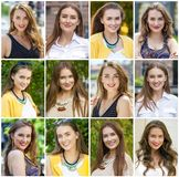 Colagem de jovens mulheres bonitas fotos de stock