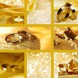 Colagem de motriz do casamento no ouro Imagem de Stock