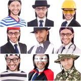Colagem de muitas caras do mesmo modelo Imagens de Stock Royalty Free