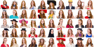 Colagem de muitas caras do mesmo modelo Fotos de Stock Royalty Free