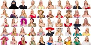 Colagem de muitas caras do mesmo modelo Foto de Stock