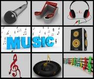 Colagem de notas musicais e de equipamentos musicais Fotos de Stock