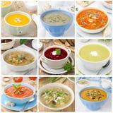 Colagem de nove sopas coloridas diferentes Foto de Stock Royalty Free
