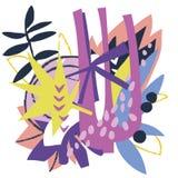 Colagem de papel dos elementos florais abstratos Imagens de Stock
