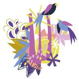 Colagem de papel dos elementos florais abstratos Imagem de Stock