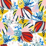 Colagem de papel dos elementos florais abstratos Fotos de Stock