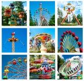 Colagem de passeios diferentes bonitos no movimento no parque de diversões Foto de Stock