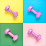 Colagem de pesos cor-de-rosa Imagens de Stock Royalty Free