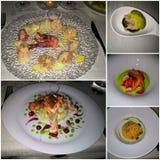 Colagem de placas de peixes saborosos e deliciosas foto de stock