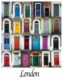 Colagem de portas coloridas em Londres Foto de Stock Royalty Free