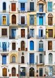 Colagem de 36 portas da rua coloridas de Karpathos Imagem de Stock Royalty Free