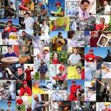 Colagem de povos diversos, trabalhadores Imagens de Stock
